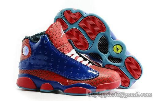 Air Jordan 13 Spiderman Blue Red Snakeskin Shoes