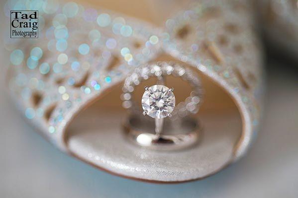 Diamonds are a girls best friend!  Wedding diamond rings and shoe www.TadCraigPhotography.com