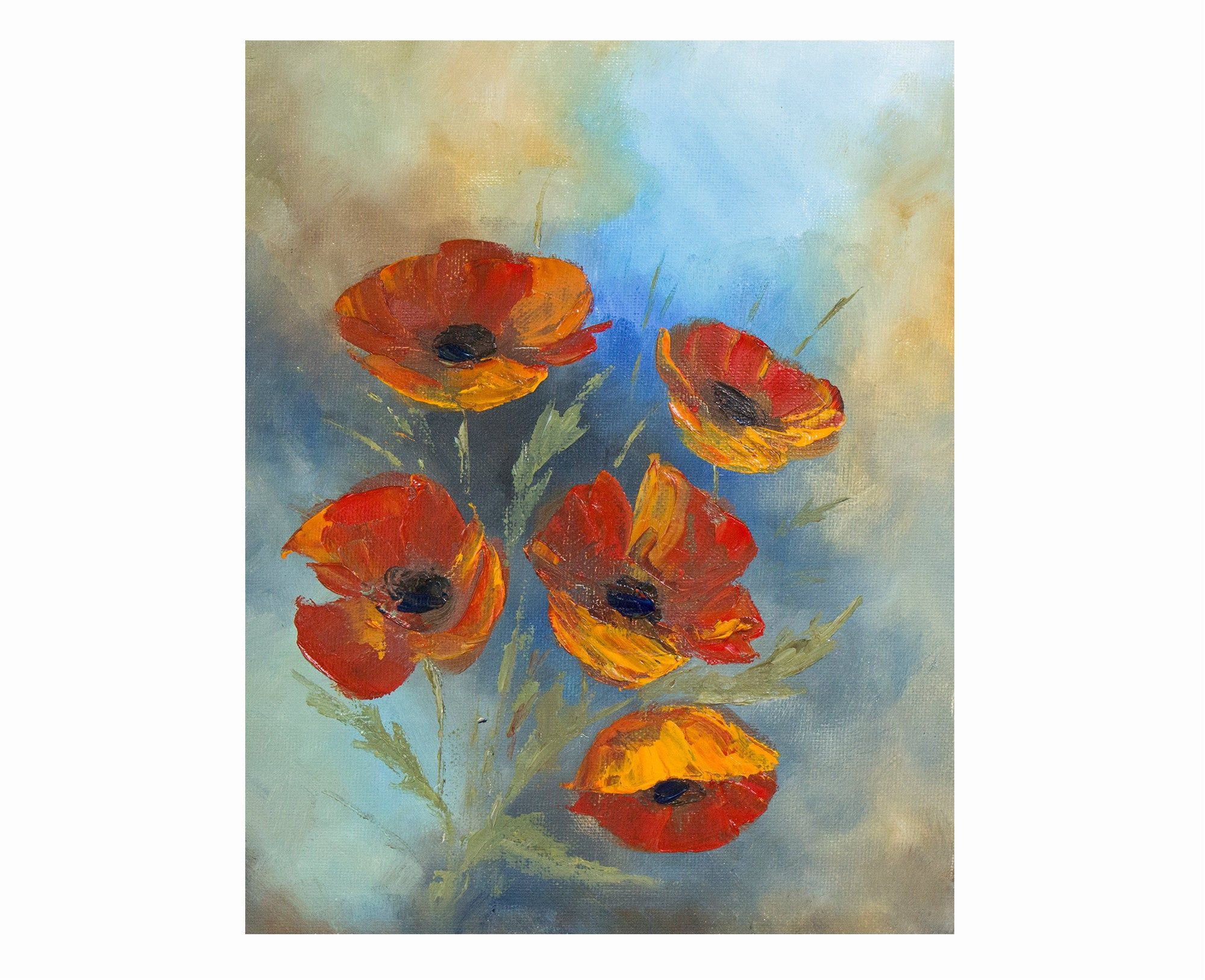 original one of a kind Impasto painting Poppies framed textured