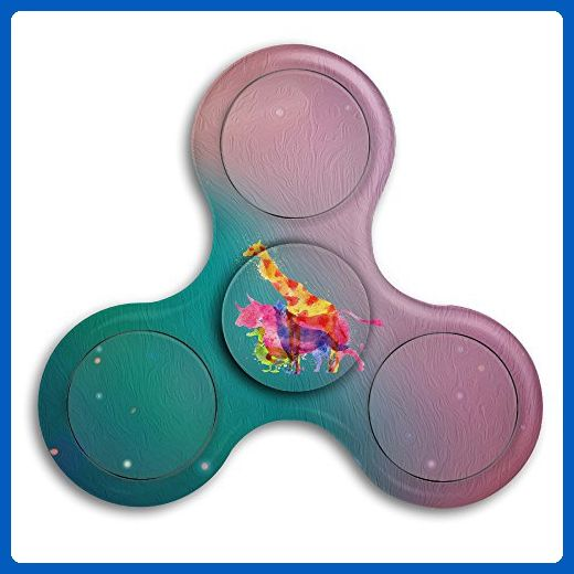 Abstract Watercolor Deer Wolf Duck ABS Tri Spinner Fid Toy Hand