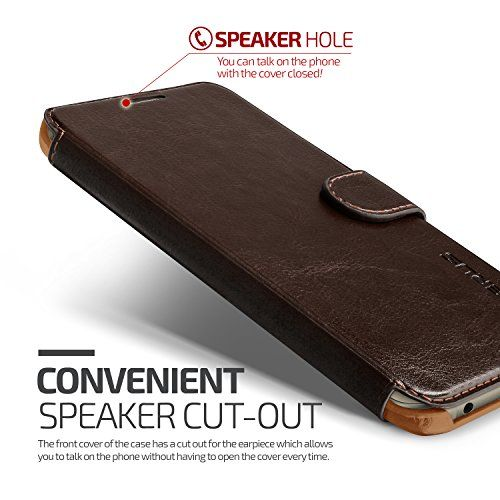 Galaxy S6 Edge Plus Case Wallet, Verus [Layered Dandy][Coffee Brown] - [Card Slot][Flip][Slim Fit][Wallet] -For Samsung Galaxy S6 Edge+ SM-G928 Devices