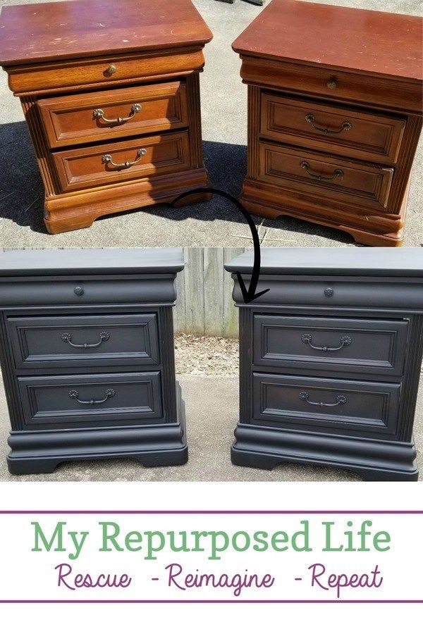 Vintage Black Nightstands To Match Passages Bed My Repurposed Life Rescue Re Imagine Repeat Furniture Makeover Furniture Makeover Diy Bedroom Furniture Makeover