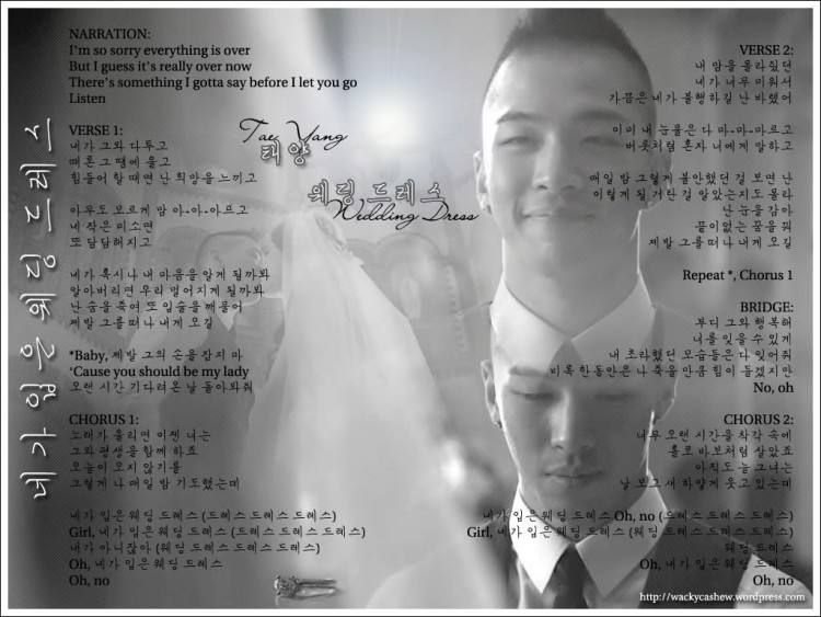 Taeyang Wedding Dress Eng Lyrics Wedding Dresses Dress Lyrics Korean Wedding Dress