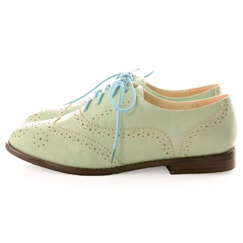 Best Cute Mint Green Lace Up Flat Dress Oxford Shoes Women Hot Buy ...