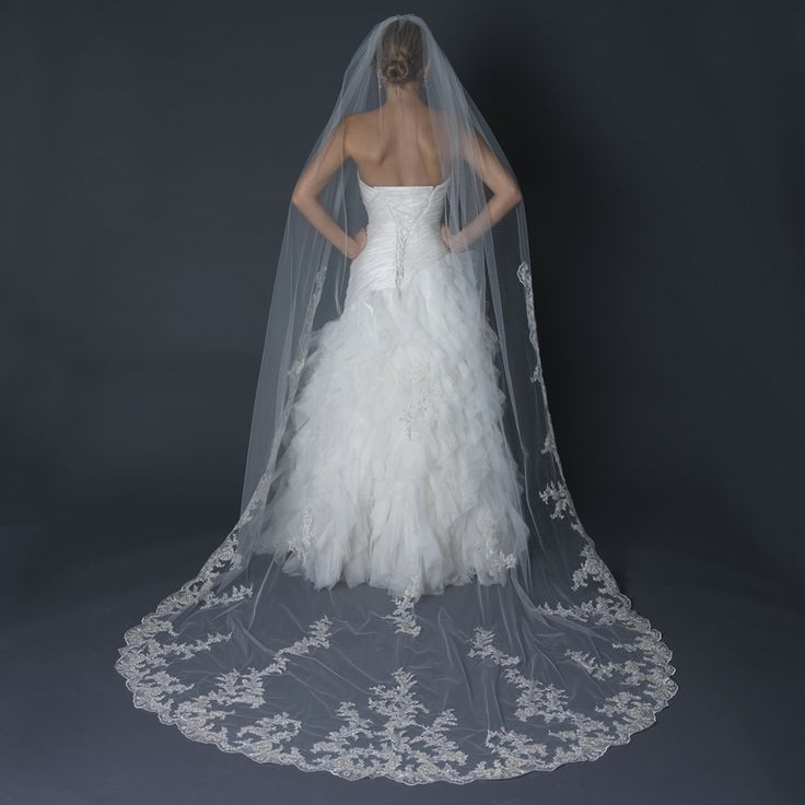Regal Floral Lace Embroidery Cathedral Length Wedding Veil