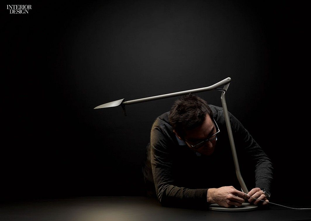 Patrick Jouin ID's LED task lamp, Ato for Kos Lighting, a slender arm of extruded aluminum articulates from an elbowlike joint, revealing the cord at the juncture.