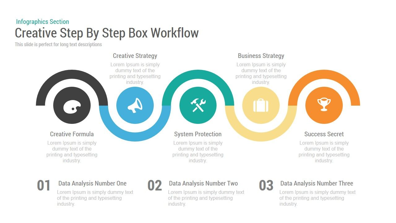 Creative Step By Step Box Workflow Powerpoint Keynote