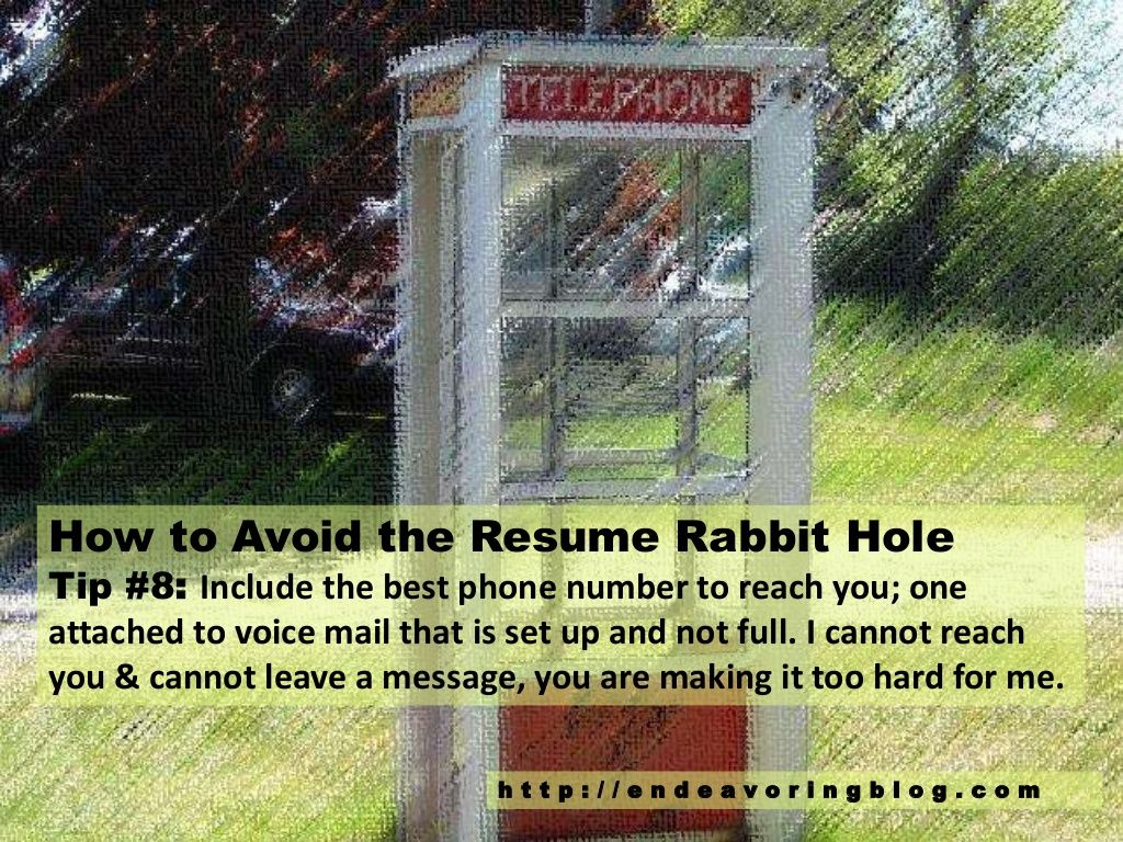 How to Avoid the Resume Rabbit Hole: Top 10 Tips | Endeavoring ...