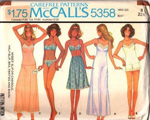 1f41f8194bea McCalls 5358 Slip Camisole Bra Panties Bikini Sewing Pattern Size 8 ...