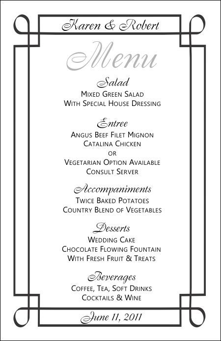 Wedding Menu Template 3 jena Pinterest Wedding menu template