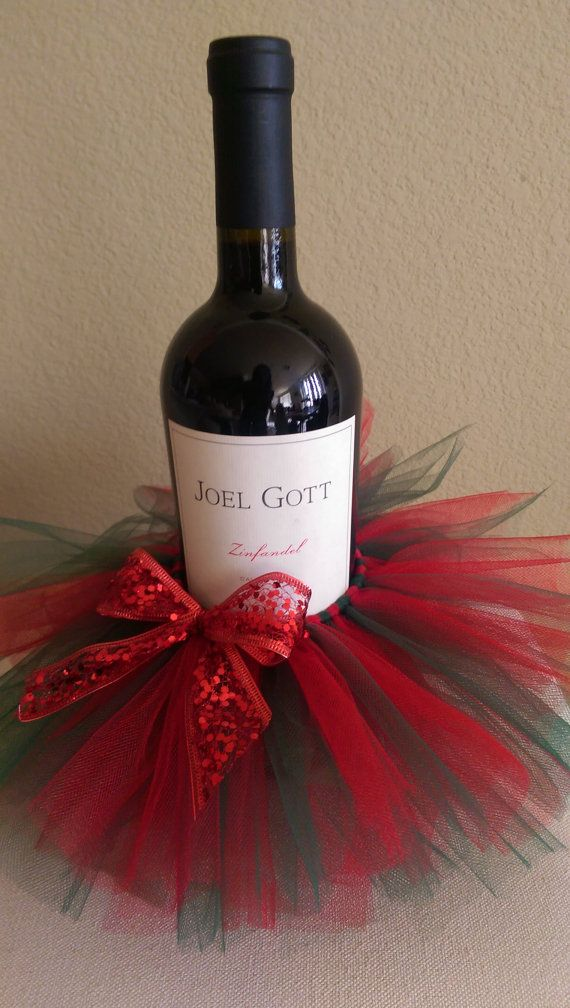 1e6fc82550 Decorative Christmas Wine Bottle Tutu with Bow by StuddedGoddess only $12  or 2/$20!! Great Christmas Present!!