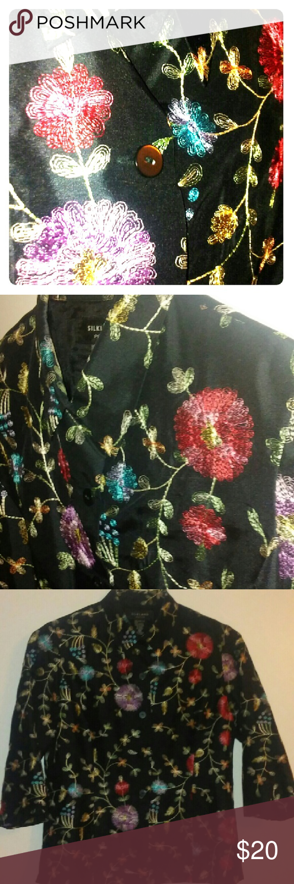 Silk top embroidered floral silk top silkland Tops Button Down Shirts