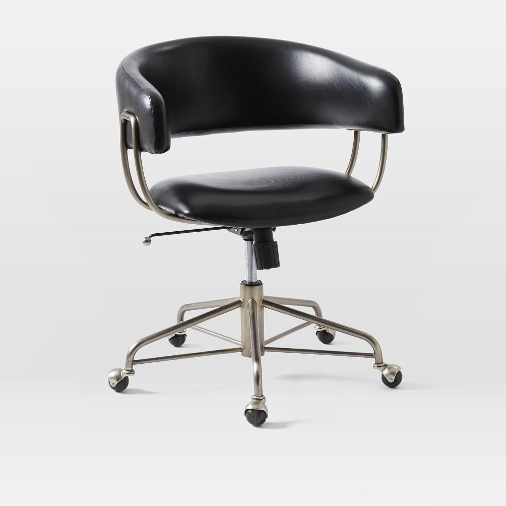 Halifax Desk Chair Polished Nickel Leather Obsidian