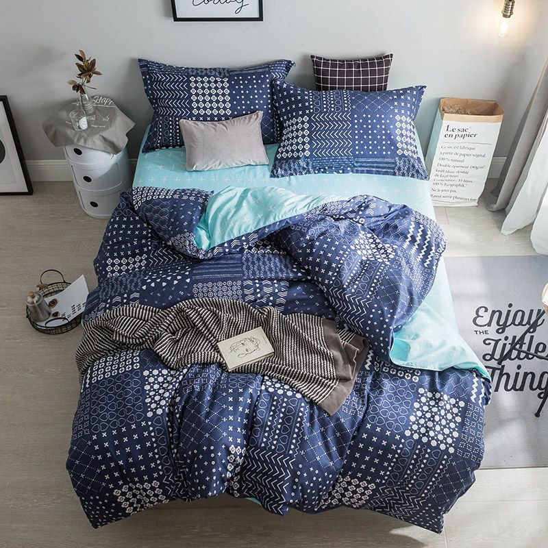 Modern Style Dark Blue White Stripes Pattern Bedding Sets Duvet Cover 3 4pcs Bed Sheets Single Twin Full Q Modern Bed Sheets Bed Linens Luxury Duvet Cover Sets