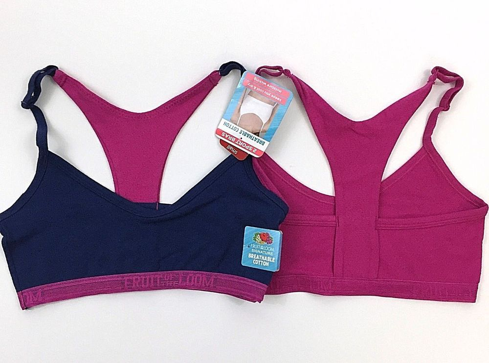Fruit of the Loom Breathable Cotton Sport Bra Set of 2
