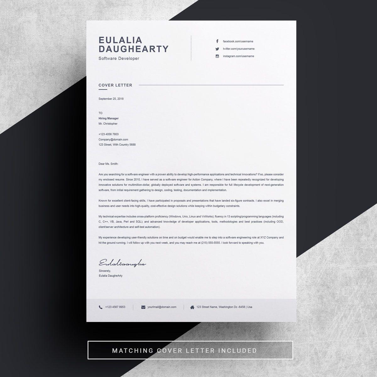 Eulalia Daughearty Resume Template 77968 Clean resume