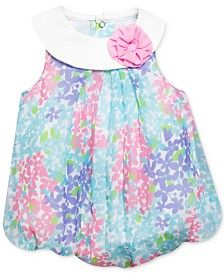 3653275158ea Baby Essentials Baby Girls  Floral-Print Bubble Romper