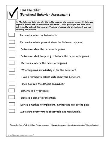 FBA Checklist ( Functional Behavior Analysis) behavior - functional behavior assessment