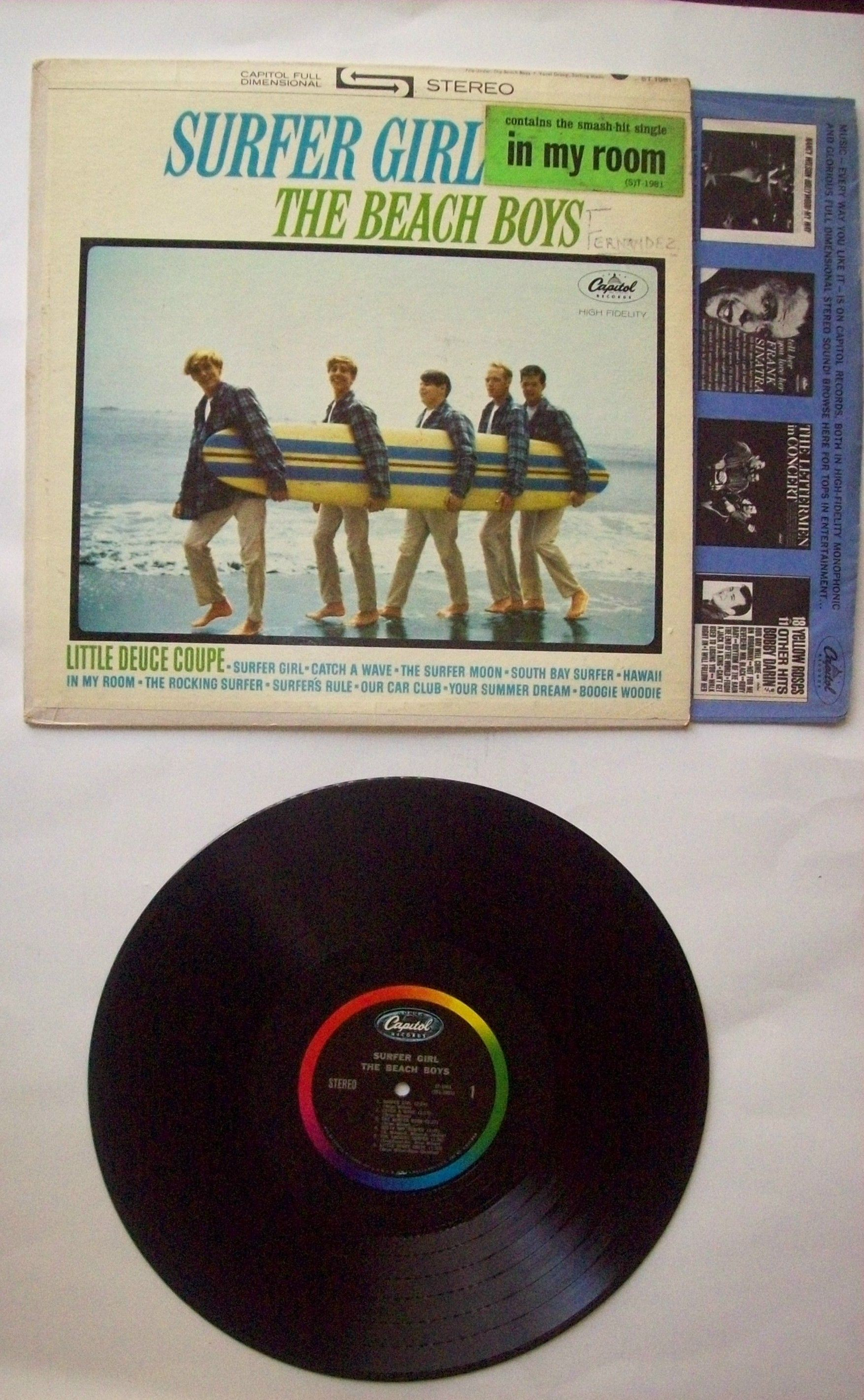 Capitol Records First Edition First Press The Beach Boys Surfer Girl Vinyl Lp Beach Boys Surfer Girl The Beach Boys Vintage Vinyl Records