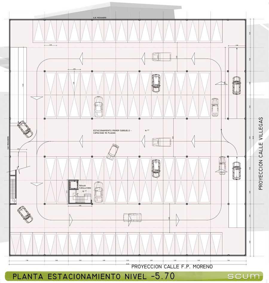 Proyecto proyecto sal n de usos for Medidas de un carro arquitectura