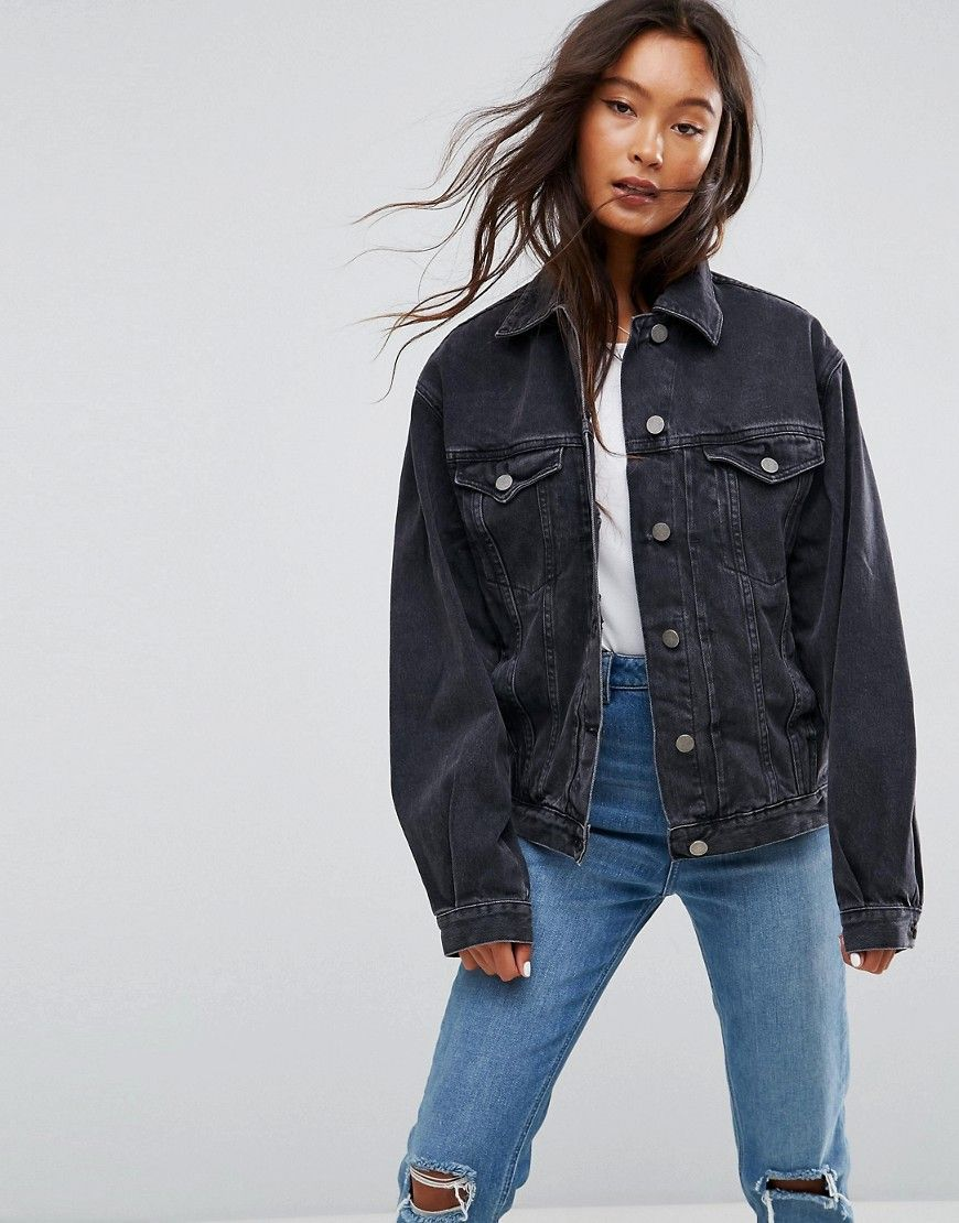 d6e8b27fa23a9 ASOS Denim Girlfriend Jacket in Washed Black - Black