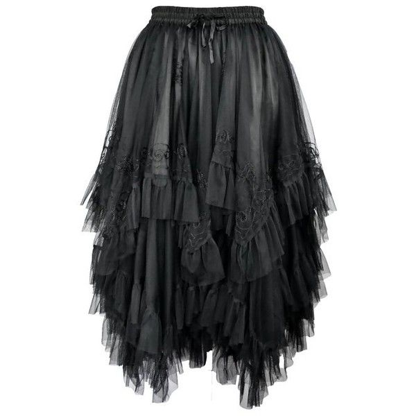 Dark Star Gothic Zig Zag Embroidered Mesh over Satin Skirt DS/SK/7641... ($95) ❤ liked on Polyvore featuring skirts