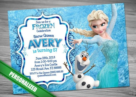 Personalized Disney Frozen Birthday Invitation Card Templates – Personalized Disney Birthday Invitations