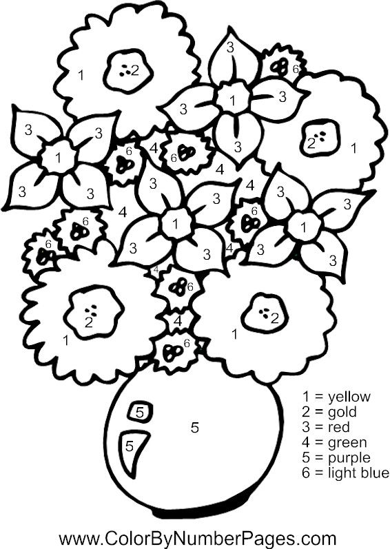 Flowers Color By Number Page Coloring Books Detailed