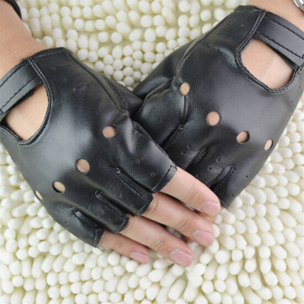 Men Short Faux Leather Gloves Half Finger Fingerless Motorcycle Driving Punk