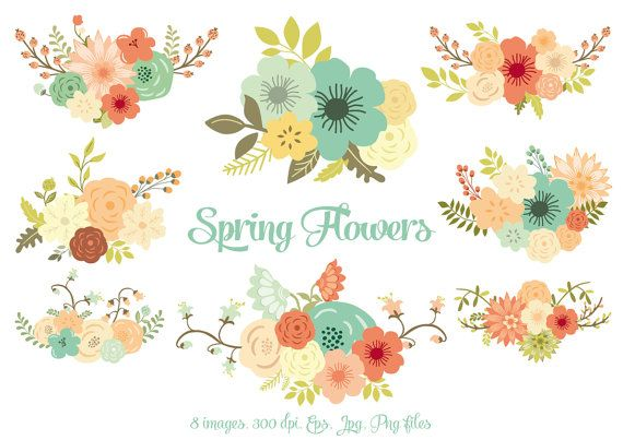Spring flowers clipart clip art flowers clipart wedding spring flowers clipart clip art flowers clipart wedding invitation 8 images 300 dpi eps jpg png files personal small commercial use mightylinksfo