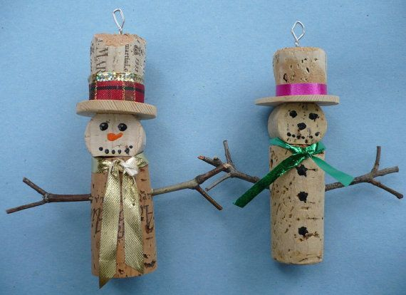 Wine cork snowmen!