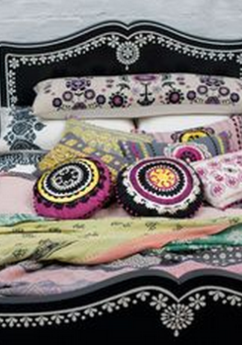 ⋴⍕ Boho Decor Bliss ⍕⋼ bright gypsy color & hippie bohemian mixed pattern home decorating ideas - bed mix of textiles