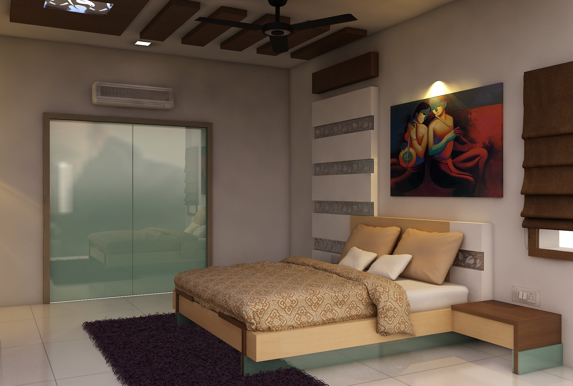 Bedroom With Painting By Kamlesh Maniya Interior Designer In