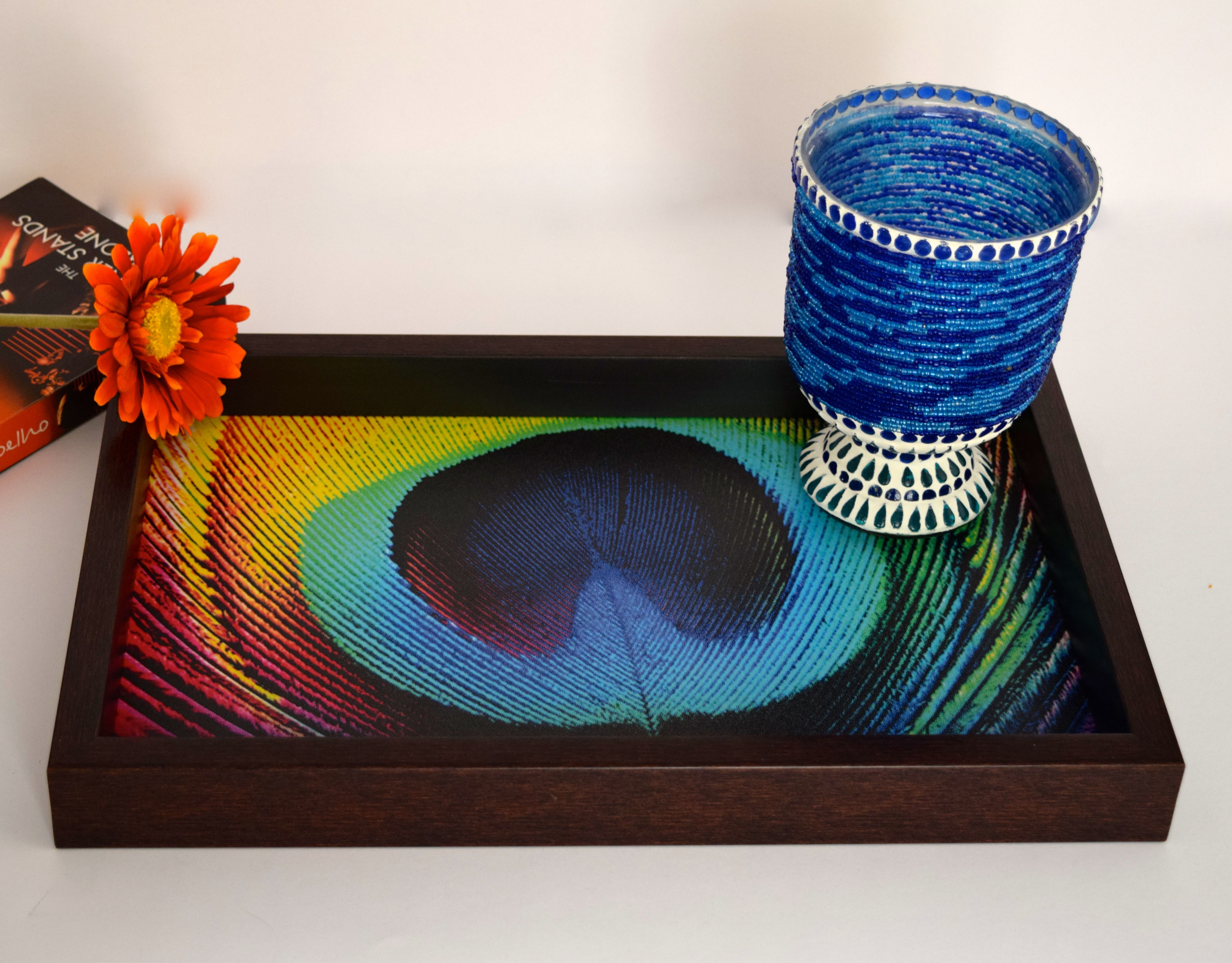 Multi colored peacock feather serving tray.