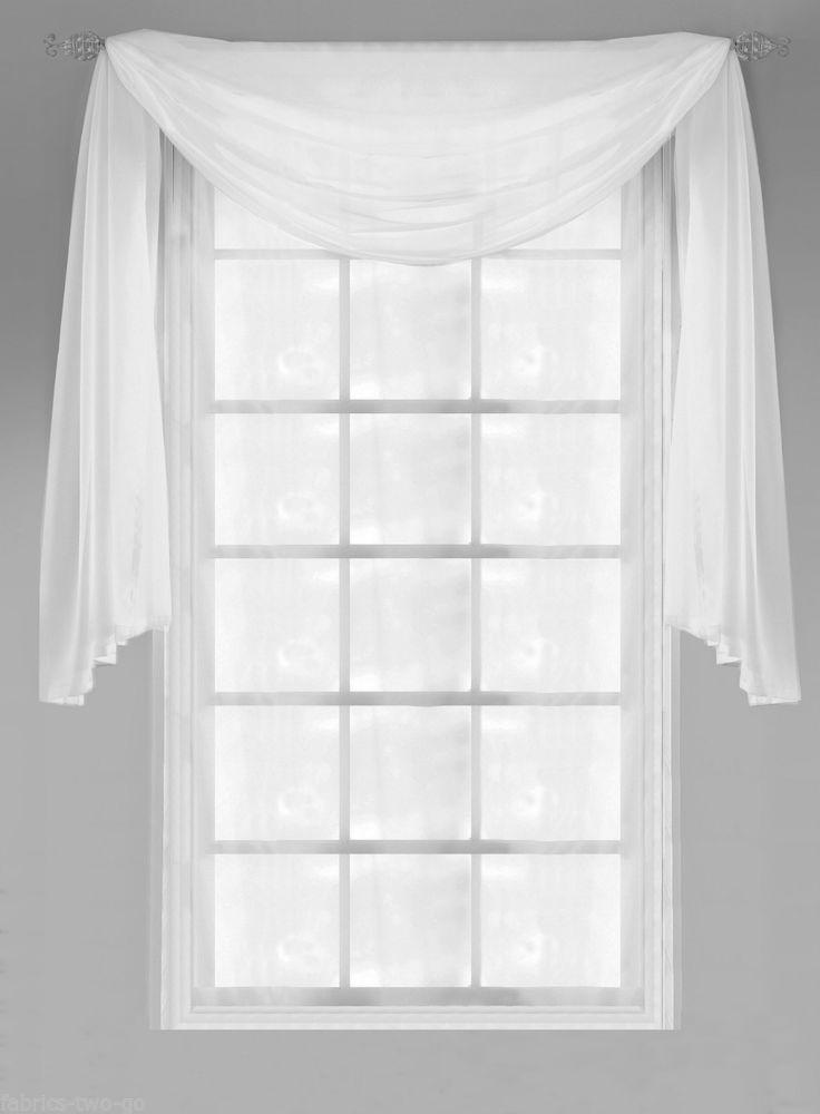 Plain Voile Window Pelmet Scarf Swag Panel Decoration Lots Of Colours Sizes Bathroom Windows Curtains Bathroom Window Dressing