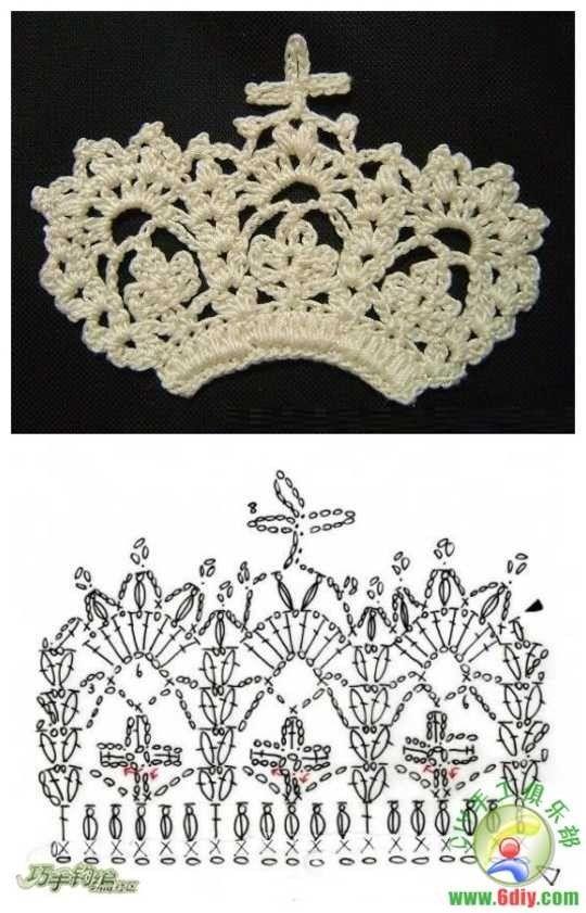 Crochet crown ♥LCJ♥ with diagram