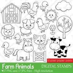 Farm Animals Digital Stamps Con Imagenes Libros De Tela