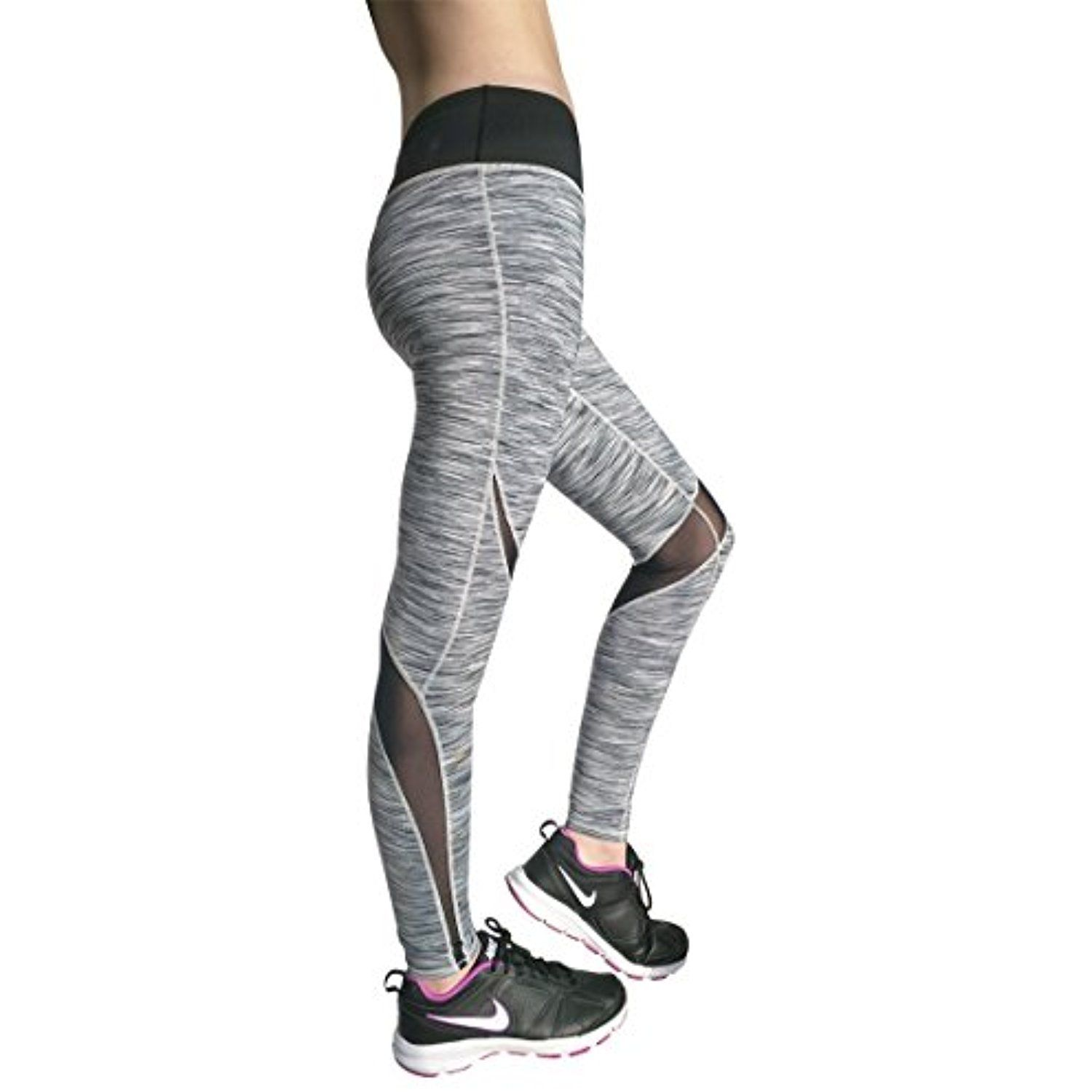 f61ec21b20976a DEUCE SPORTS POWERSWITCH Womens Grey Workout Pants | Slimming Yoga Legging  with High Waist | Skin Tight Fit Perfect for Yoga Athletics Running Tennis  * Be ...