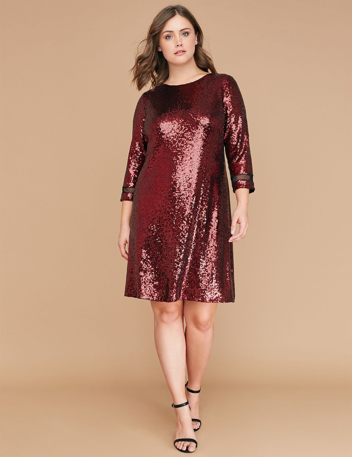 3/4 Sleeve Sequin Swing Dress | Products | Plus size party ...