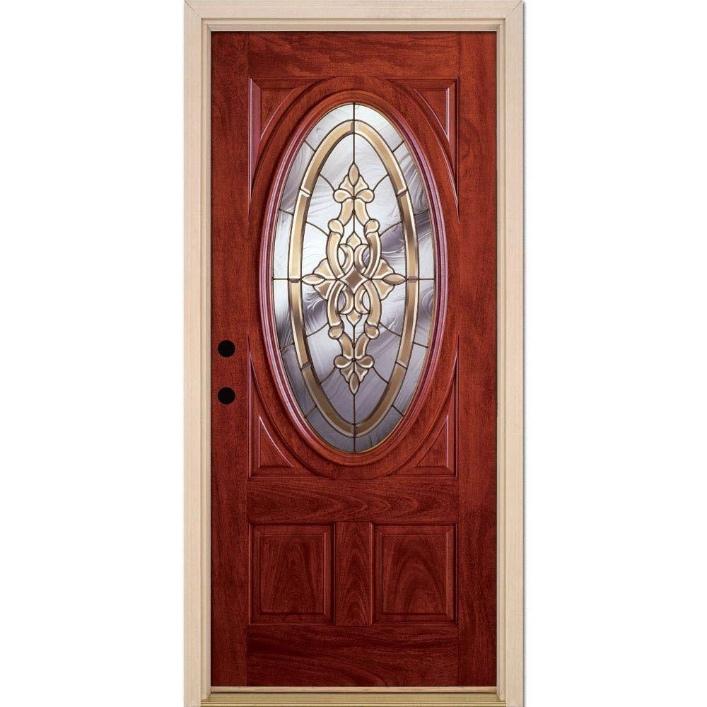 Feather River Doors 37.5 in. x 81.625 in. Silverdale Brass 3/4 Oval Lite Stained Cherry Mahogany Right-Hand Fiberglass Prehung Front Door, Mahogany Woodgrain: Pre-Finished Cherry