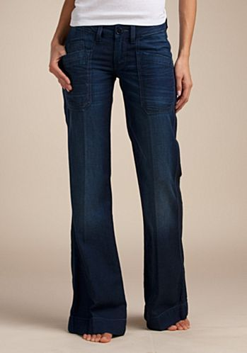 e79caf440c Lucky denim trousers with front slant pockets and back buckle ...