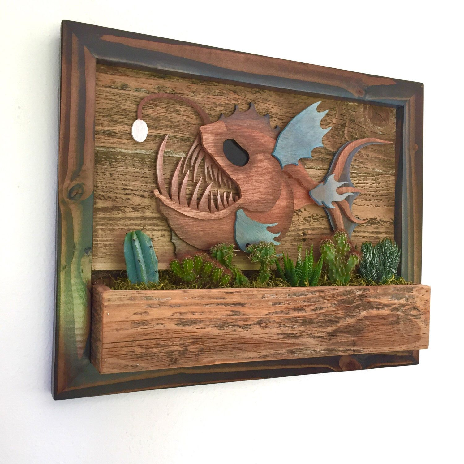 Angler Fish Vertical Garden, Vertical Planter, Living Wall, Wall Planter,