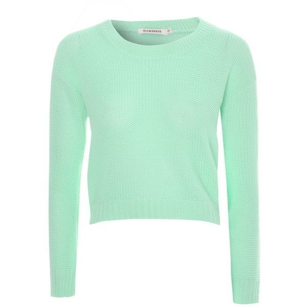 Mint Waffle Cropped Fisherman Jumper ($25) ❤ liked on Polyvore ...