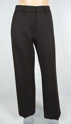 PRADA Italy Brown Wool Blend Pants 40 Flat Front Subtle Diagonal Stripe Career