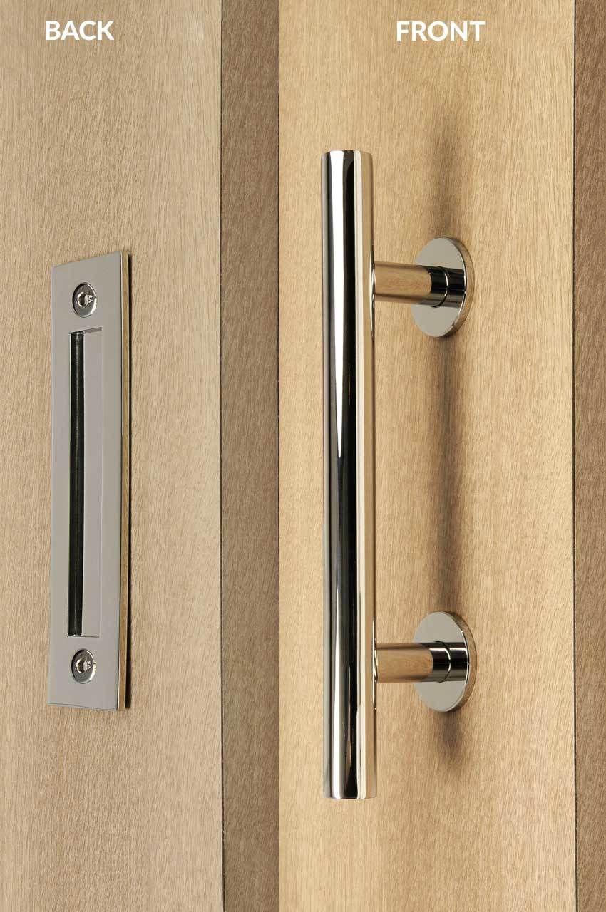 Barn Door Pull And Flush Tubular Door Handle Set Polished Stainless Steel Finish Door Handles Flush Doors Door Handle Sets