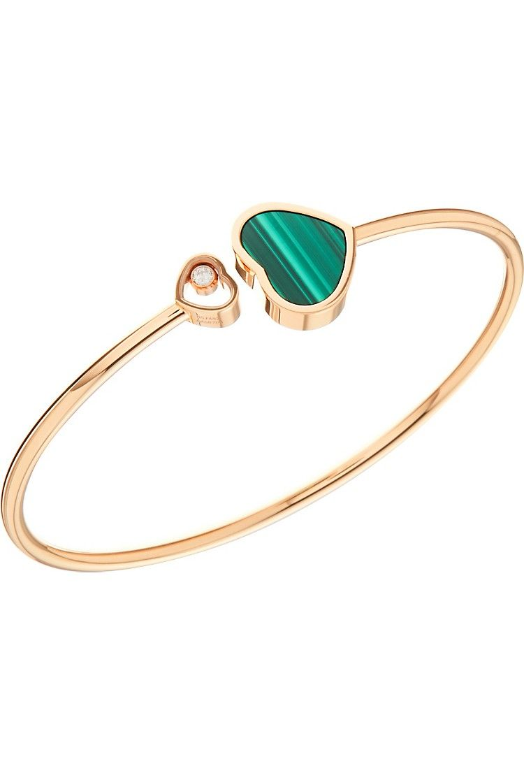 Chopard Happy Hearts 18k White Gold Turquoise & Diamond Bangle Bracelet tEsXP