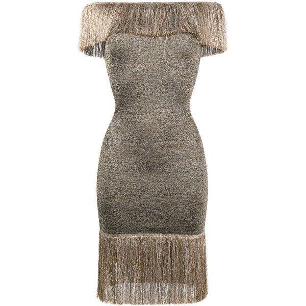 9fc18d05ec22 Christopher Kane off-shoulder fringed knee-length dress ( 995) ❤ liked on  Polyvore featuring dresses