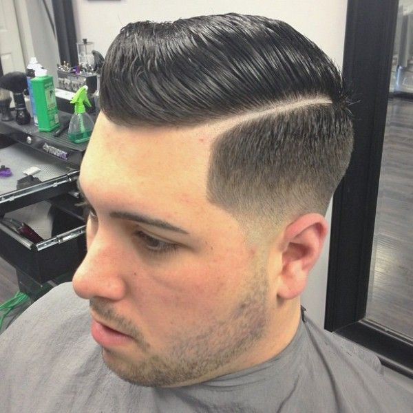 boy haircut slick however the razor part is thick greaser 1041