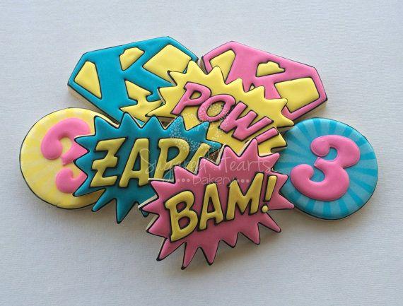 Superhero Supergirl Birthday Cookies  Pow by SugaredHeartsBakery