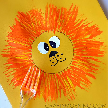 Make A Lion Craft With Your Kids Using A Fork And Paint Cute For A
